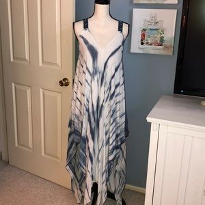 En Creme tie dye maxi handkerchief dress